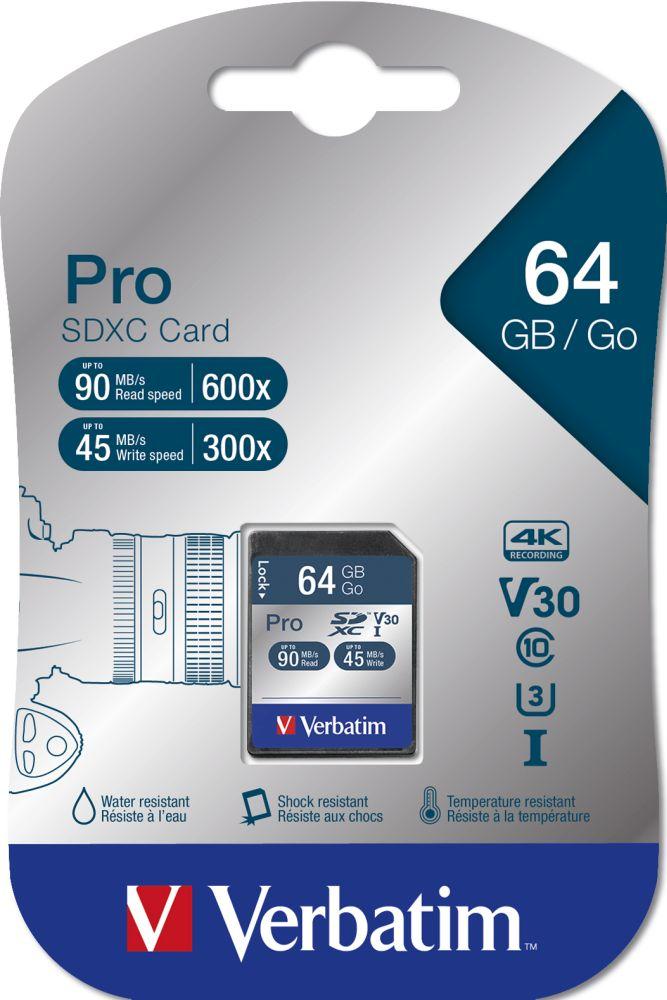 Verbatim SDXC 64GB paměťová karta PRO UHS-I (U3) (90MB/s), V30, Class 10 - Verbatim SDXC 64GB UHS-I U3 47022