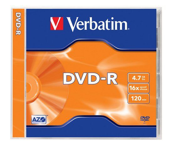 VERBATIM DVD-R 4,7GB 16x, 1ks (43519) - Verbatim DVD-R 4,7GB 16x, AZO, jewel, 5ks (43519)