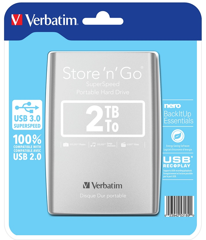 Verbatim Store 'n' Go 2TB Silver (53189)